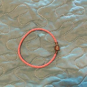 Pink leather pandora bracelet